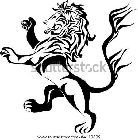 Heraldic Lion Vector Standing Stock Vector 316866116 ...