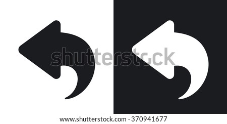 Vector arrow back icon. Two-tone version on black and white background
