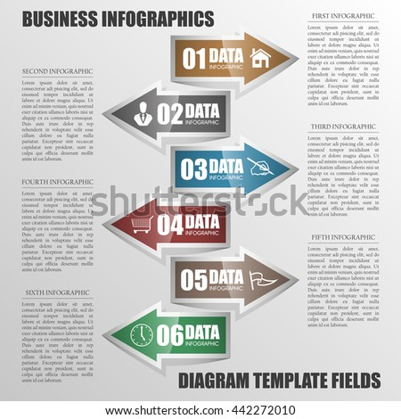 vector 6 arrow banners business infographic process diagram compare service banner presentatoin. Six steps to achieve this goal. Six glossy strip for your annotations. Six full-color sticker. - stock vector