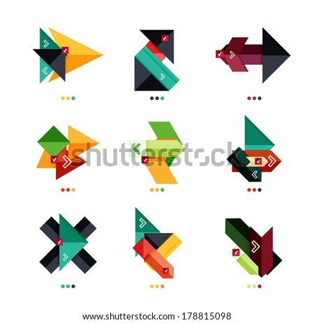 Vector arrow business geometric stickers for business background | numbered banners | business lines | graphic website - stock vector