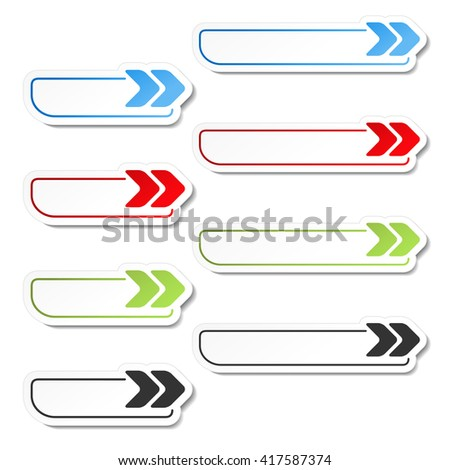 Vector arrow buttons. Black, green, blue and red arrows on the white simple stickers, rectangle with rounded corners.