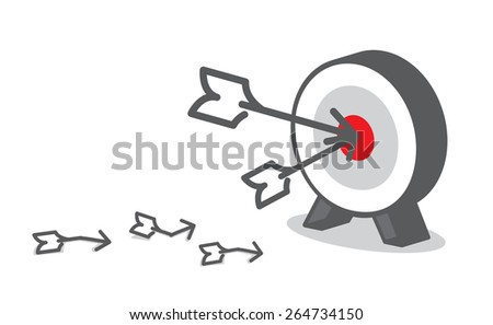 Vector : Arrow hit red target at dart board, Business concept, Goal setting. - stock vector