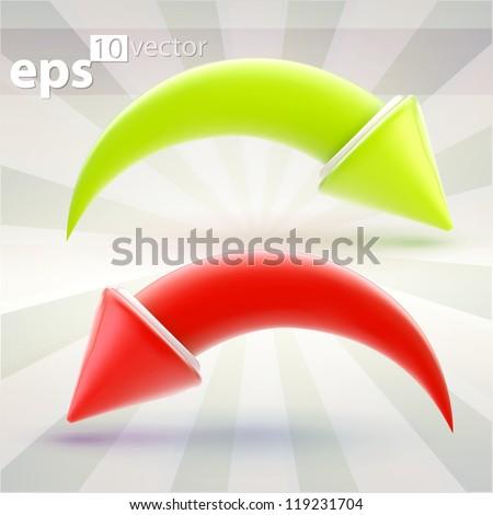 Vector arrow icon emblems, green forward redo and red backward undo eps10 vector button set - stock vector