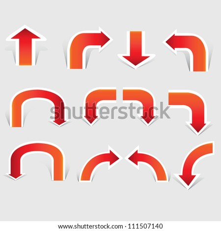 vector arrow set, paper cut, red arrow - stock vector