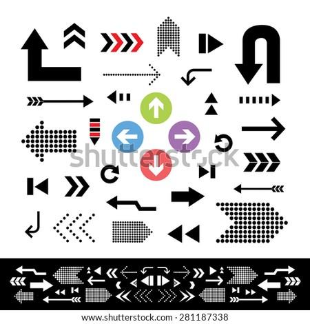 vector arrow sign icon set  - stock vector
