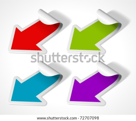 Vector arrow stickers set. Transparent shadow easy replace background and edit colors. - stock vector