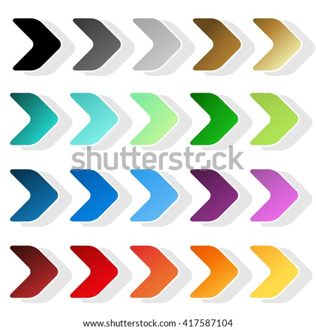 Vector arrow symbols. Black, grey, silver, dark, golden, cyan, turquoise, blue, green, purple, red, orange and yellow label. Simple arrow buttons. Sign of next, read more, play, go etc.  - stock vector