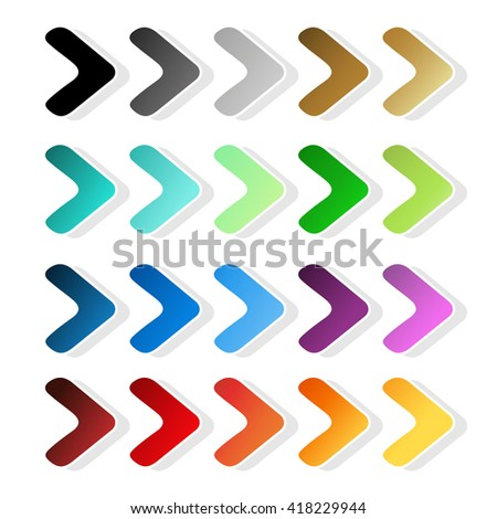 Vector arrow symbols. Black, grey, silver, dark, golden, cyan, turquoise, blue, green, purple, red, orange and yellow label. Simple buttons. Pointer on web. Sign of next, read more, play, go etc.  - stock vector