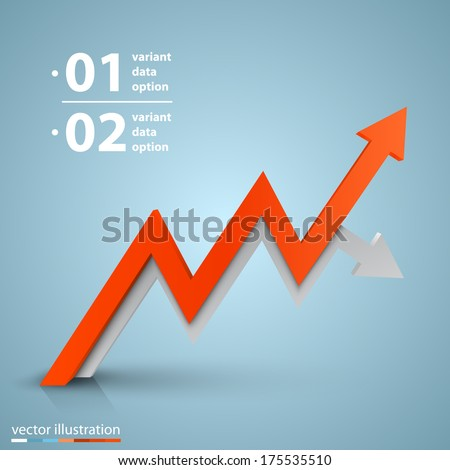 Vector arrows business growth Arrows business art info. Profit red arrow, Vector illustration - stock vector