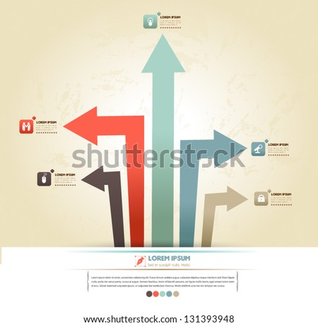 Vector arrows for business concepts with  icons / can use for info-graphic / loop business report or plan / modern template / education template / business brochure /  system diagram - stock vector