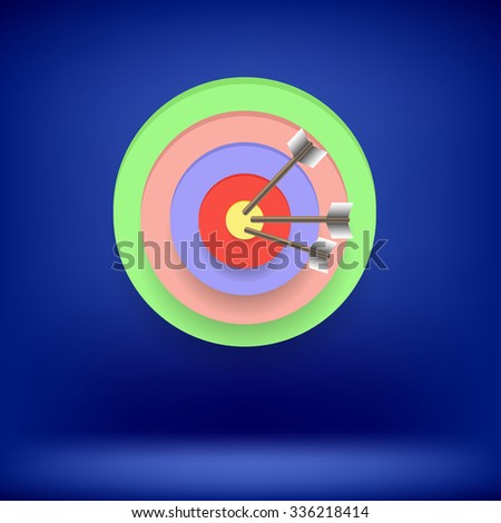 Vector Arrows Hit Right on Target. Target Concept on Blue Background. Achieving  Goal - stock vector