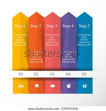 Vector arrows infographic. Template for diagram, graph, presentation, chart. Business concept with 5 options, parts, steps or processes. Step up progress and growth. - stock vector