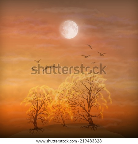 Vector art autumn landscape as watercolor painting. Grunge picture showing trees, brush strokes dramatic moonlight sky, flying migratory birds - stock vector