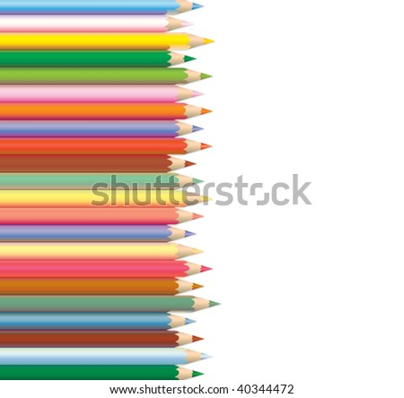 vector art design of a group of colorful wooden pencils