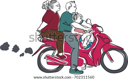 Vector Art Drawing Of Family On Bike Travel By Scooter White Background