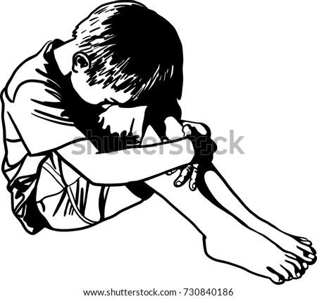 Vector art drawing lonely sad child stock vektor - Cartoon girl sitting alone ...