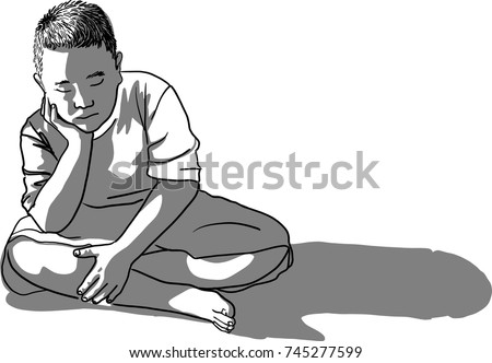 Vector art drawing of sad boy sitting alone on the floor with the hands under his