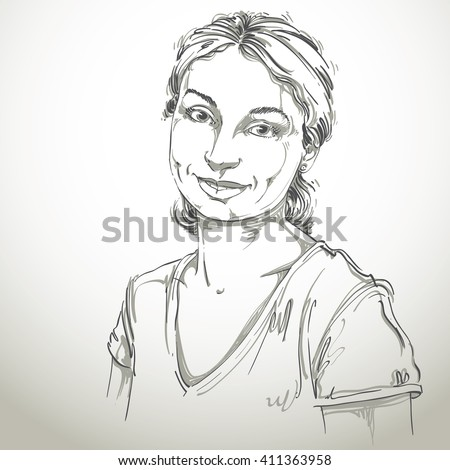 Vector art drawing, portrait of gorgeous happy smiling girl isolated on white. Facial expressions, people positive emotions. - stock vector