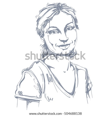 Vector art drawing, portrait of gorgeous happy smiling girl isolated on white. Facial expressions, people positive emotions.