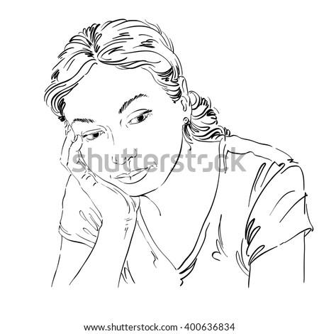 Sad girl thinking clipart