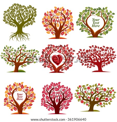 Vector art drawn trees with beautiful blossom and red heart. Harvest season idea eco symbols with empty copy space for your text, can be used as ecology and environmental conservation concept. - stock vector
