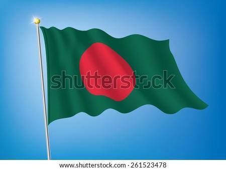 Vector art flags waving illustration:Bangladesh - stock vector