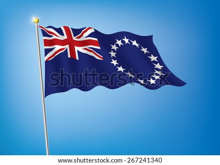 Vector art flags waving illustration:Cook Islands