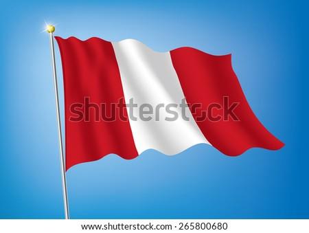 Vector art flags waving illustration: Peru - stock vector