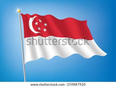 Vector art flags waving illustration:Singapore - stock vector