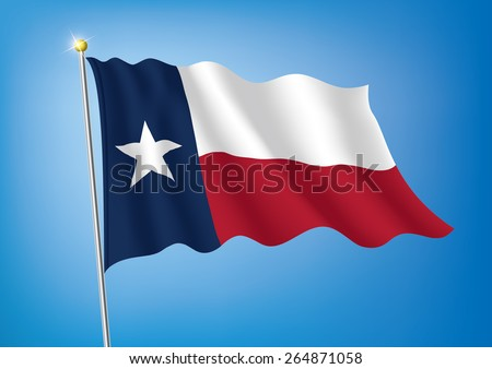 Vector art flags waving illustration:Texas - stock vector