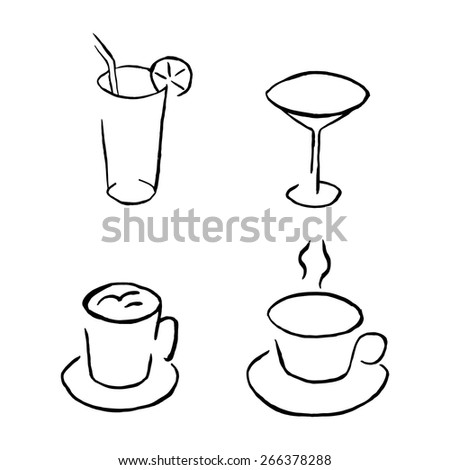 Vector. Art. Food, drinks. Café. Icon set of glasses and cups for coffee shop to coffee shop. - stock vector