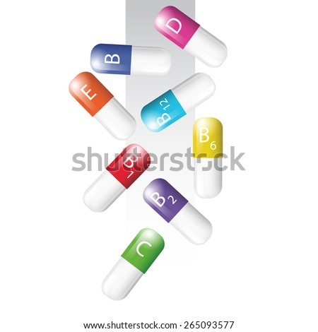Vector art graphic illustration of colour capsules