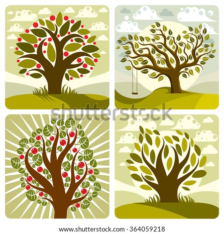 Vector art green fruity trees with swing on beautiful cloudy spring landscape.  Setting sun with sunbeams view, season theme illustrations collection.