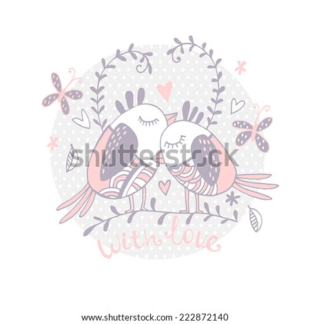 Vector art hand drawn pattern. With love. Valentine's card - stock vector