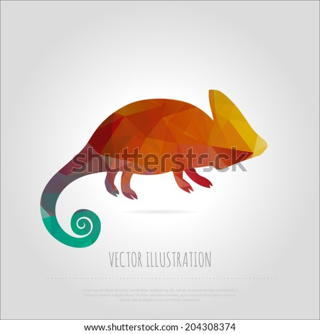 Vector art multicolored polygonal illustration chameleon isolated. Contemporary spectrum creativity mosaic lizard design element. Abstraction animal trendy background template. - stock vector