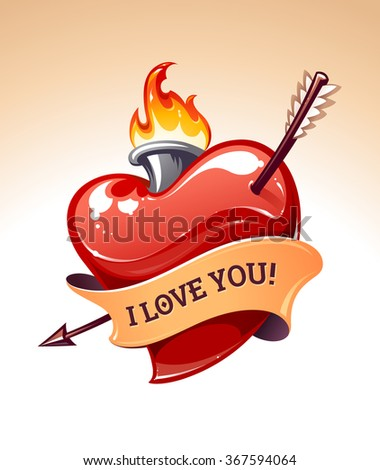 Vector art of classic tattoo style heart with arrow, fire and ribbon.  - stock vector