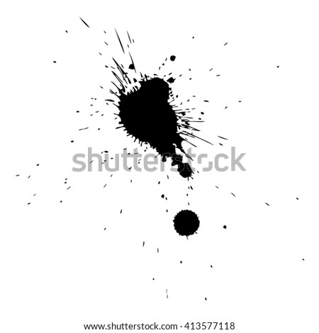 Vector artistic black paint hand made creative wet dirty ink or oil drop spots silhouette isolated on white background, metaphor to art, grunge or grungy, decoration, education abstract symbol design - stock vector