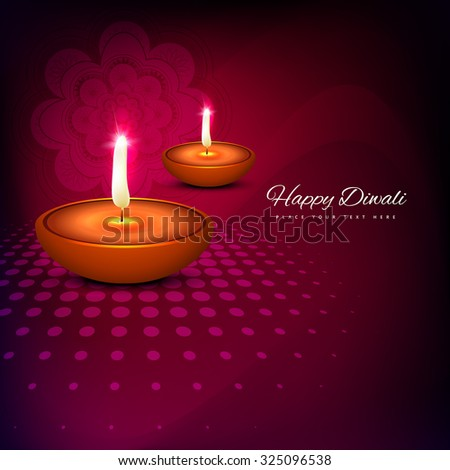 Vector artistic colorful background of burning diya on diwali holiday - stock vector