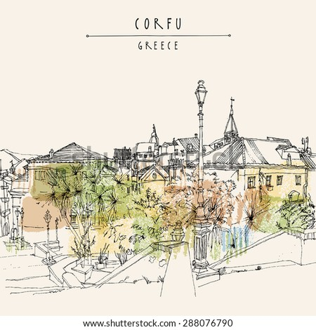 Vector artistic illustration postcard with a touristic city view of Corfu, Greece, Europe. Black ink pen line. Greeting card graphic design template. Retro style sketch. Buildings, palm trees, lamp
