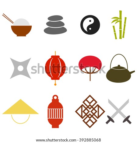 Vector Asian Icons Japan China Style - stock vector