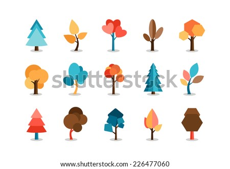 Vector Assorted Colored Tree Icons Set  Isolated on White Background. - stock vector