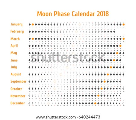 Vector Astrological Calendar 2018 Moon Phase Stock Vector ...