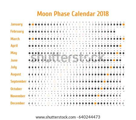 Vector Astrological Calendar 2018 Moon Phase Stock Vector