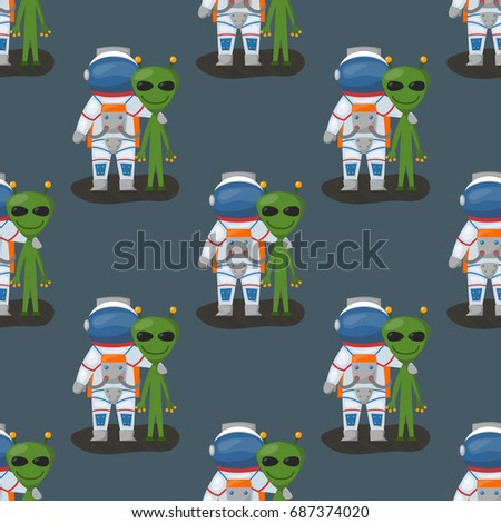 Vector astronauts in space seamless pattern character and having fun spaceman galaxy atmosphere system fantasy traveler man.