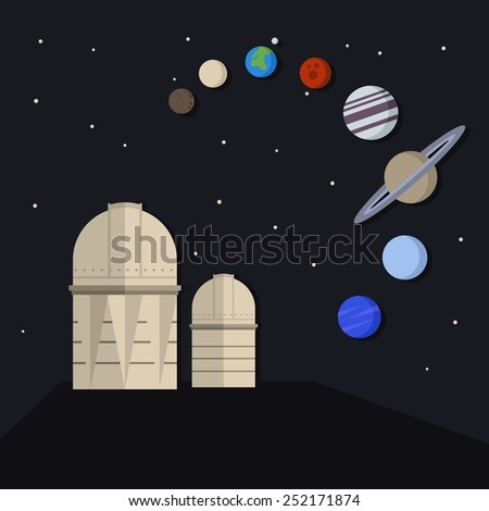 Vector astronomical illustration with two Observatory Towers under star sky and planets of Solar System. - stock vector