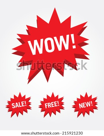 Vector attention grabber set with words - stock vector
