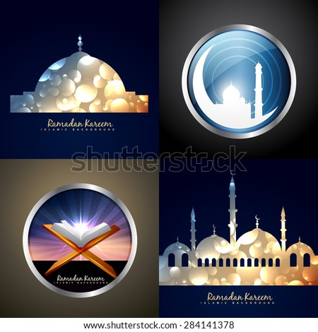 vector attractive set of festival eid background illustration - stock vector