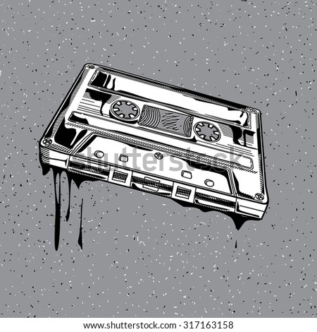 Vector audio cassette in graffiti style - stock vector