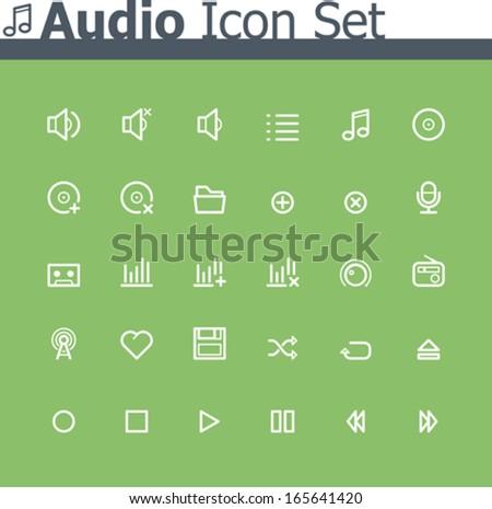 Vector audio icon set - stock vector