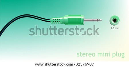 Vector audio mini plug. - stock vector